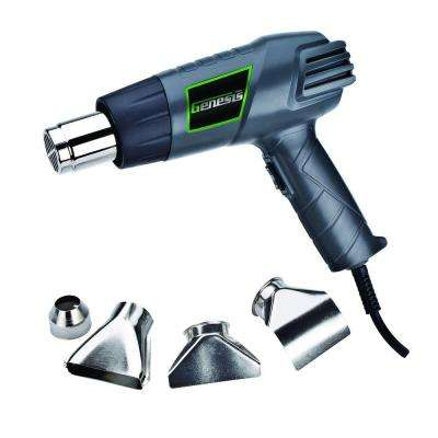 12.5-Amp Dual-Temperature Heat Gun with High/Low Settings and Air Reduction, Reflector, and 2 Deflector Nozzles