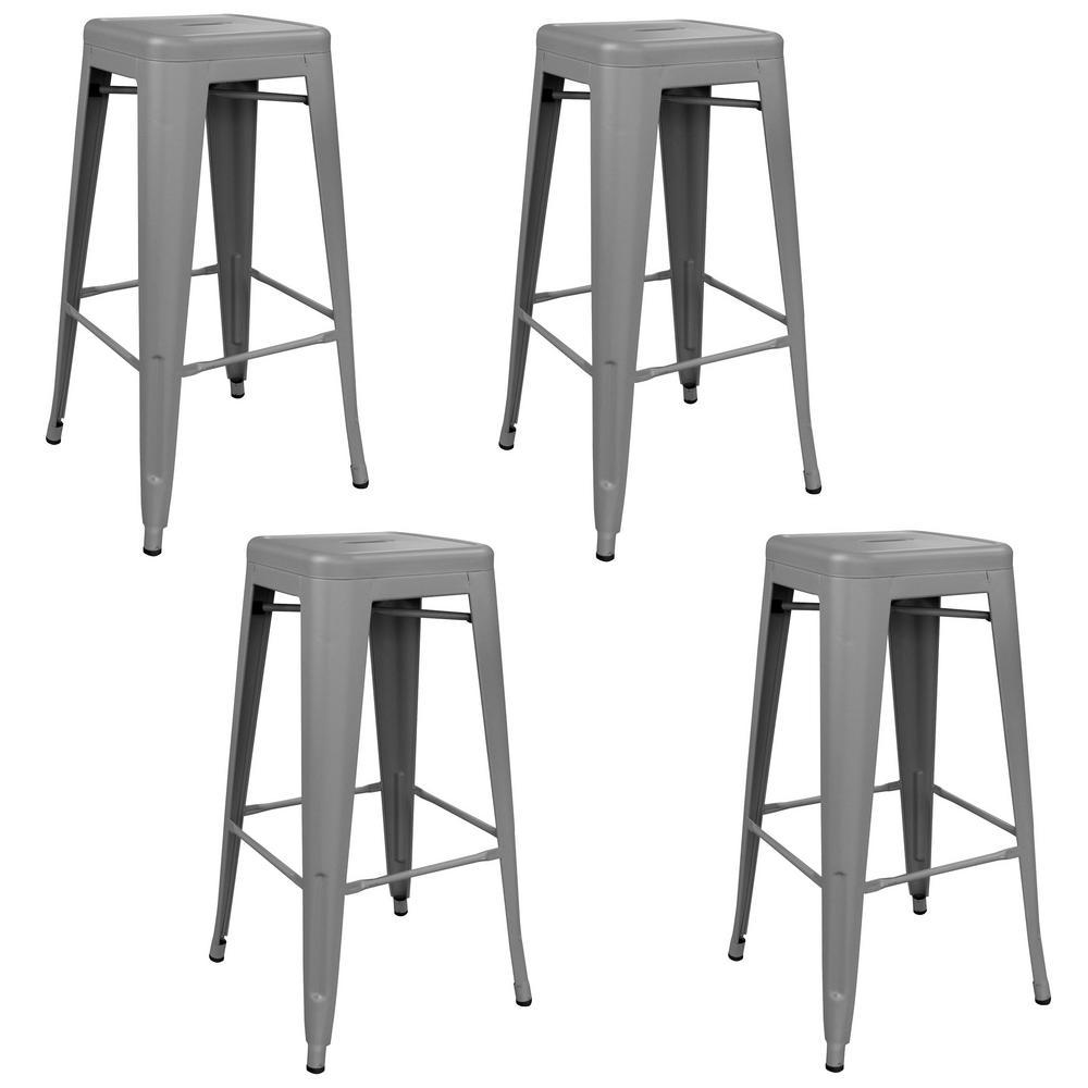 Loft Series 30 in. Gray Indoor/Outdoor Stackable Anti-Rust Coated Metal Bar Stool (Set of 4)