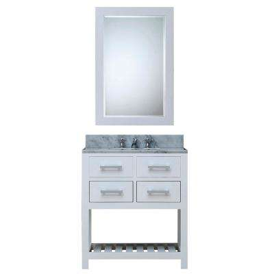 30 in. Vanity in Carrara White with Marble Vanity Top in Carrara White and Mirror