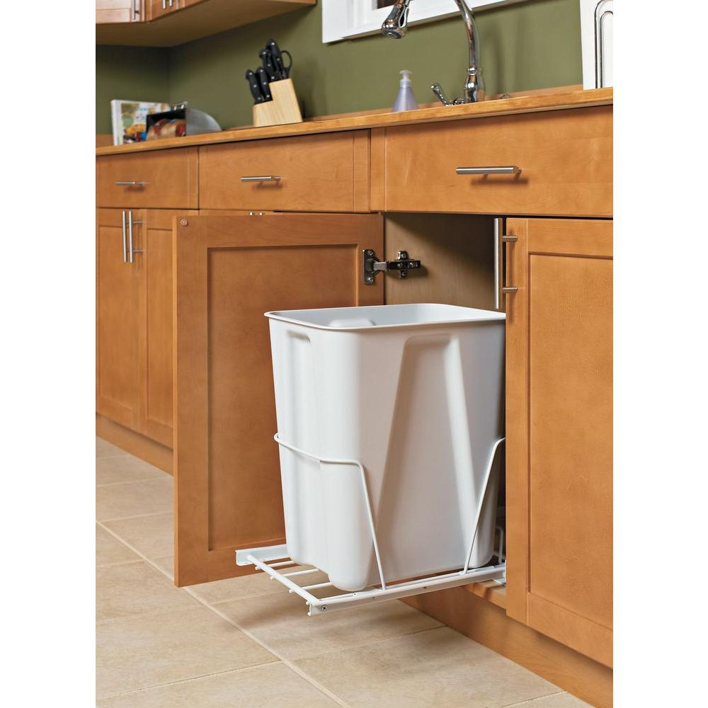 6 Gal White Pull Out Trash Can 3103