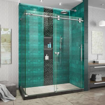 Enigma-XO 34-1/2 in. D x 54 in. W x 76 in. H Frameless Sliding Shower Enclosure in Polished Stainless Steel