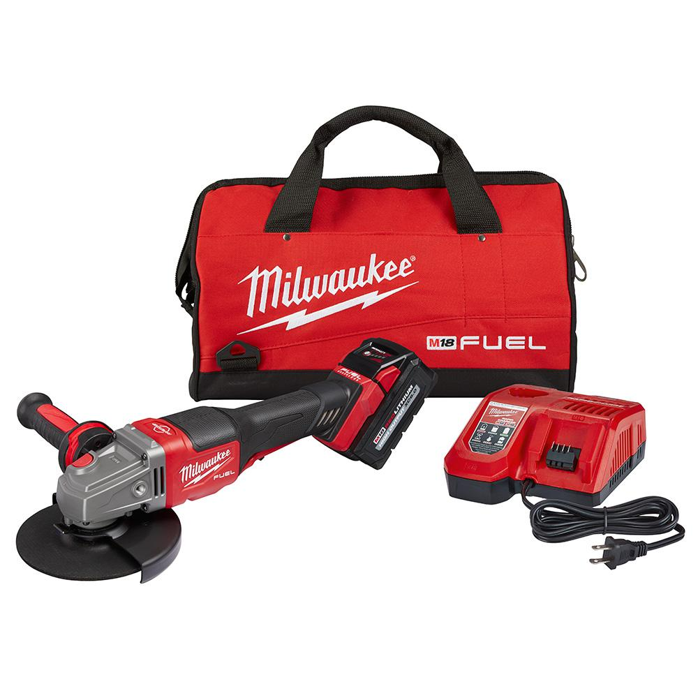 Milwaukee M18 FUEL 18-Volt Lithium-Ion Brushless Cordless 4-1/2 in./6 in. Grinder with Paddle Switch Kit and (1) 6.0 Ah Battery
