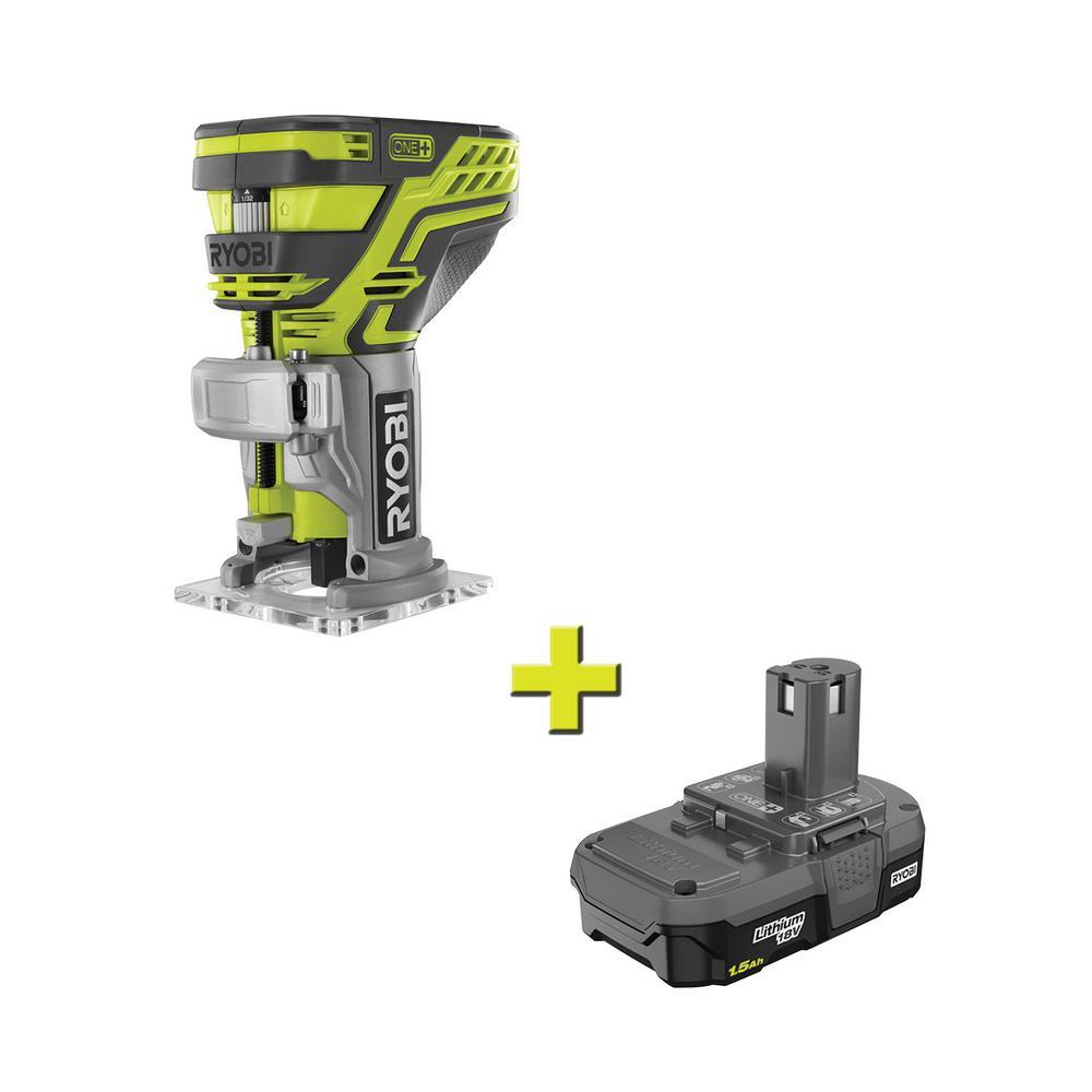 RYOBI 18-Volt ONE+ Cordless Fixed Base Trim Route + Lithium-Ion Battery
