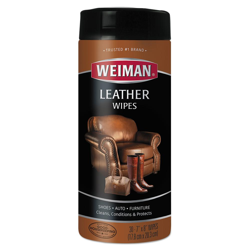 Weiman Leather Wipes 7 in. x 8 in., 30/Canister, 4 Canisters/Carton