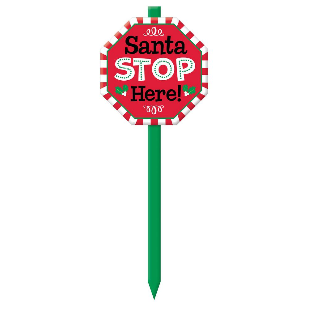 Santa Stop Here 28.5 in. Christmas Yard Sign (3-Pack)