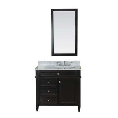 Samantha 36 in. W x 22 in. D Vanity in Espresso with Marble Vanity Top in White with White Basin and Mirror
