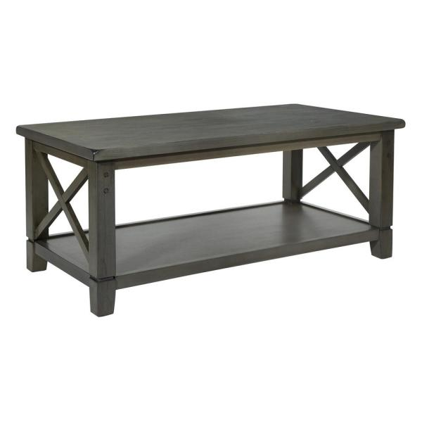 Hillsboro 41 in. Gray Wash Large Rectangle Wood Coffee Table with Shelf