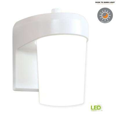 FE White Outdoor Integrated LED Entry and Patio Wall Mount Lantern with Dusk to Dawn Photocell Sensor