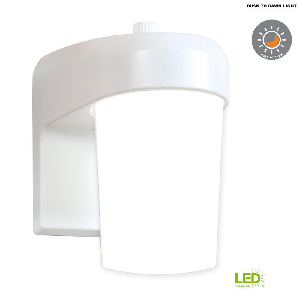 FE White Outdoor Integrated LED Entry and Patio Wall Mount Lantern