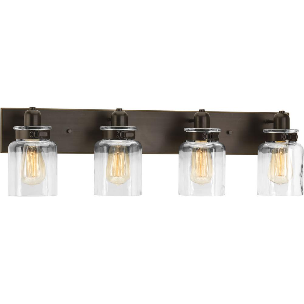 Progress Lighting Calhoun Collection 4-Light Antique Bronze Vanity Light with Clear Glass Shades ...
