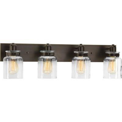 Calhoun Collection 30.25 in. 4-Light Antique Bronze Bathroom Vanity Light with Glass Shades