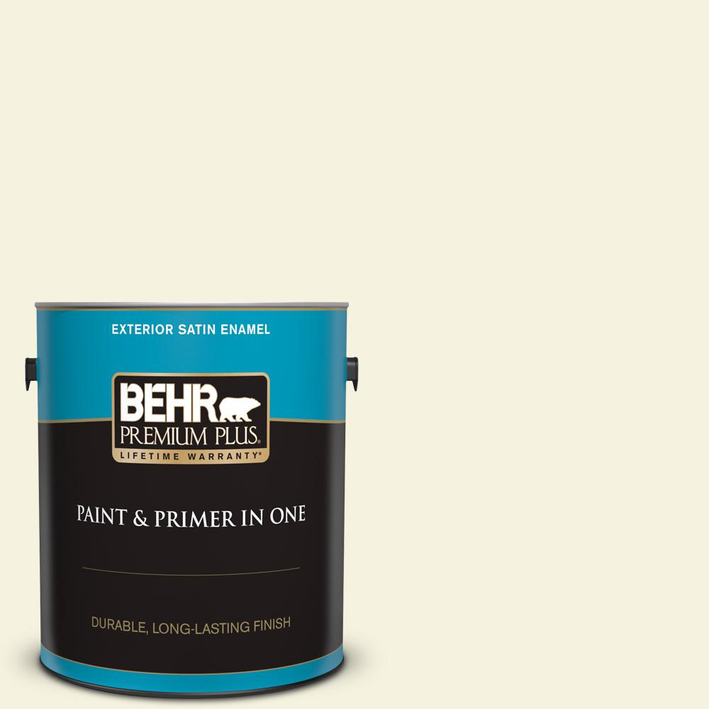 Behr Premium Plus 1 Gal P350 1 Bit Of Lime Satin Enamel Exterior Paint And Primer In One 905001 The Home Depot