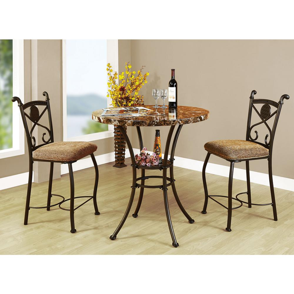 Kitchen Dining Table Sets Part - 33: ACME Kleef 3-Piece Brown Bar Table Set