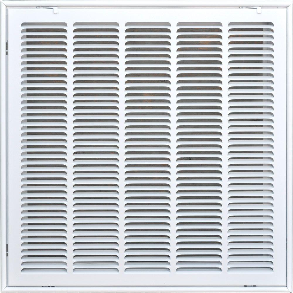 SPEEDI-GRILLE 20 in  x 20 in  Return Air Vent Filter Grille, White with  Fixed Blades