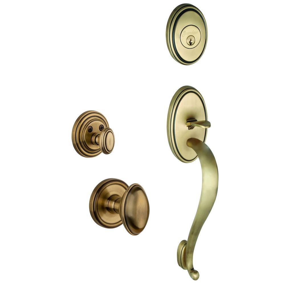 Grandeur Georgetown Single Cylinder Vintage Brass S-Grip Handleset with Eden Prairie Knob