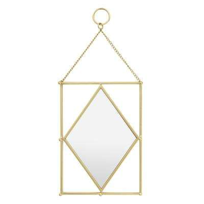 8 in. x 1.5 in. Gold Metal Frame Wall Mirror with Hooks