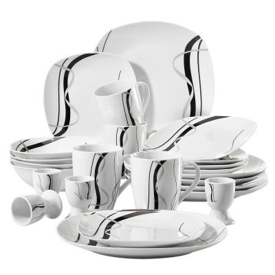 FIONA 20-Piece Ceramic White Dinnerware Set Plates and Bowls Porcelain Mugs and Egg Cups(Service for 4)
