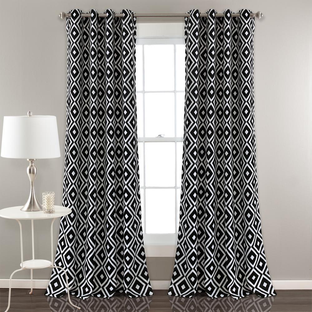 """Diamond Geo Window Panels Black 84"""" x 52"""" 2-Pc Set 100% Polyester"""