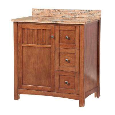 Knoxville 31 in. W x 22 in. D Vanity in Nutmeg with Vanity Top and Stone Effects in Bordeaux