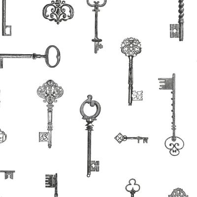 56.4 sq. ft. Addison Black Vintage Keys Wallpaper