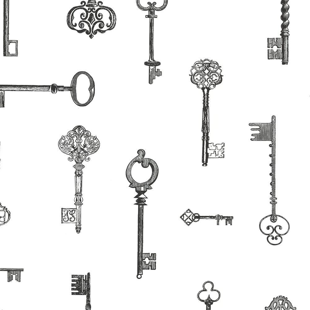 8 in. x 10 in. Addison Black Vintage Keys Wallpaper Sample