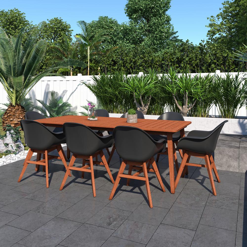 Elsinore 9-Piece Wood Rectangular Outdoor Dining Set