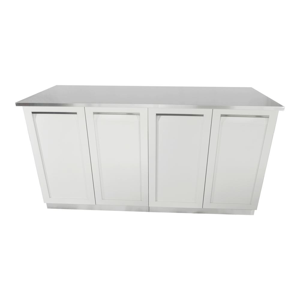 White Kitchen Cabinets Set: 4 Life Outdoor 3-Piece 66 In. X 36 In. X 24 In. Stainless