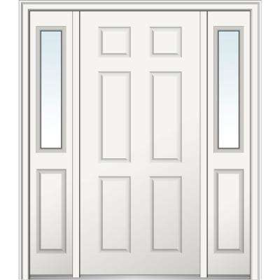 64 in. x 80 in. Right-Hand 6-Panel Classic Primed Steel Prehung Front Door with Sidelites on 6-9/16 in. Frame