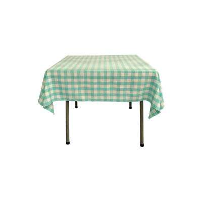 52 in. x 52 in. White and Mint Polyester Gingham Checkered Square Tablecloth