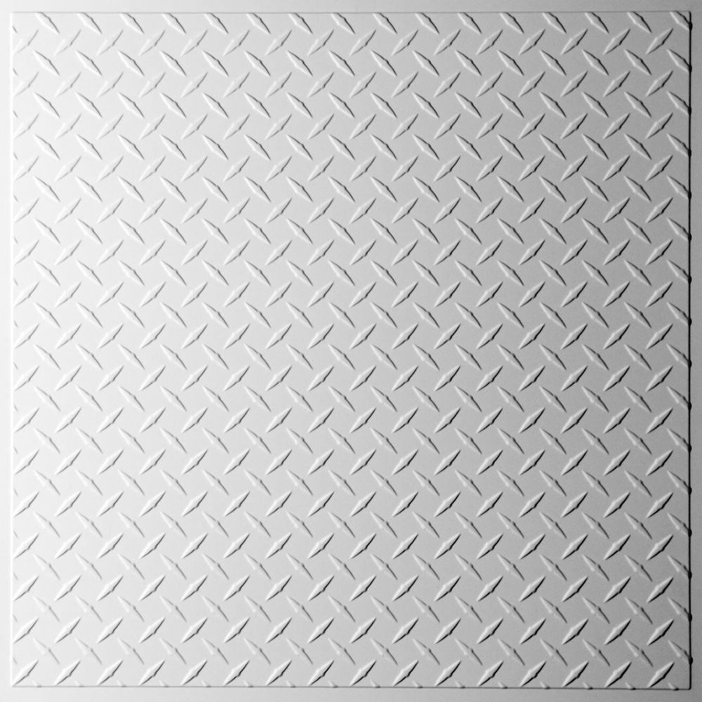 Square drop ceiling tiles ceiling tiles the home depot diamond plate white 2 ft x 2 ft lay in or glue dailygadgetfo Choice Image