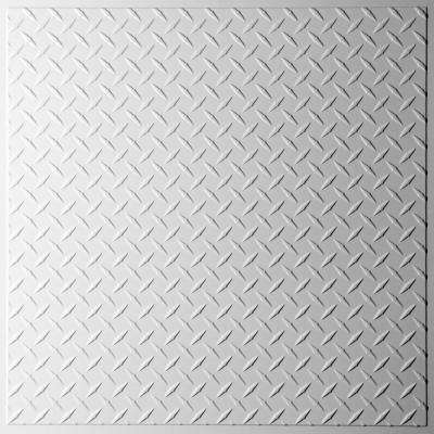 Diamond Plate White 2 ft. x 2 ft. Lay-in or Glue-up Ceiling Panel (Case of 6)