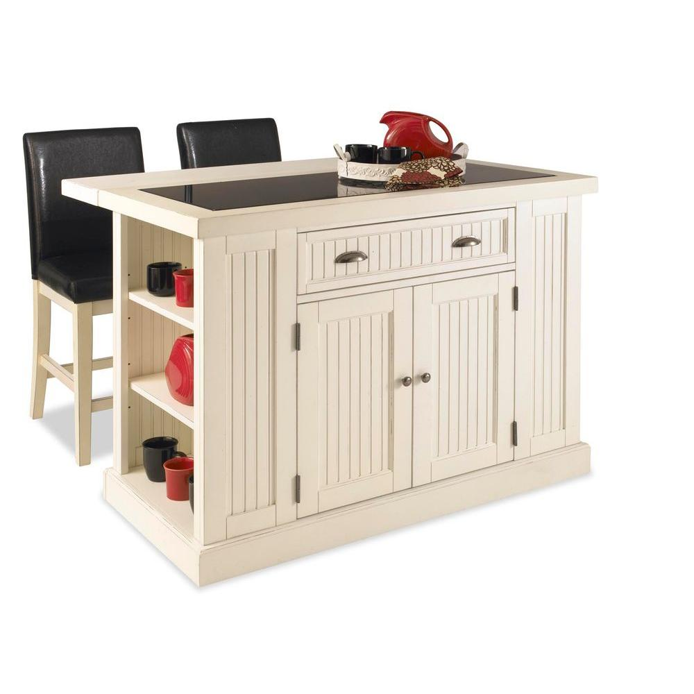 Home Styles Nantucket Kitchen Island in Distressed White with Black Granite Inlay and Two Stools