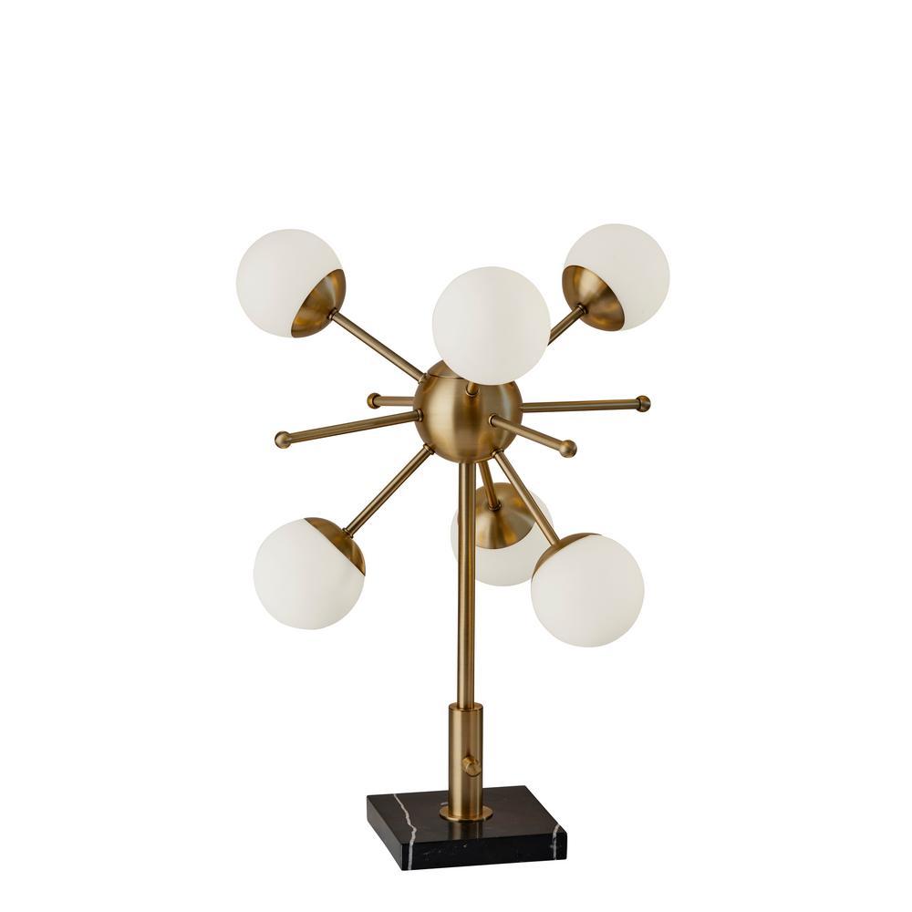 Doppler 23 in. Integrated LED Antique Brass Table Lamp