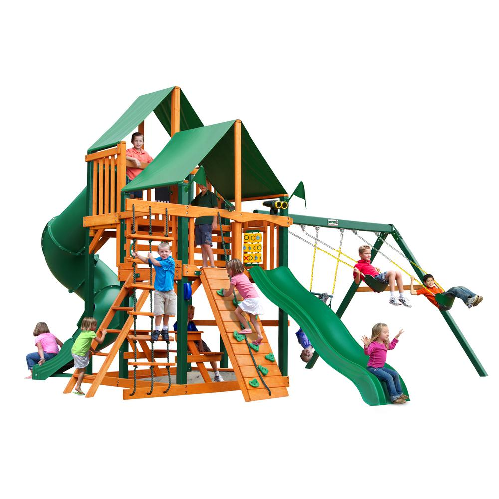 Gorilla Playsets Great Skye I Cedar Swing Set with Green Vinyl Canopy and Timber Shield Posts  sc 1 st  The Home Depot : canopy for swing set - memphite.com