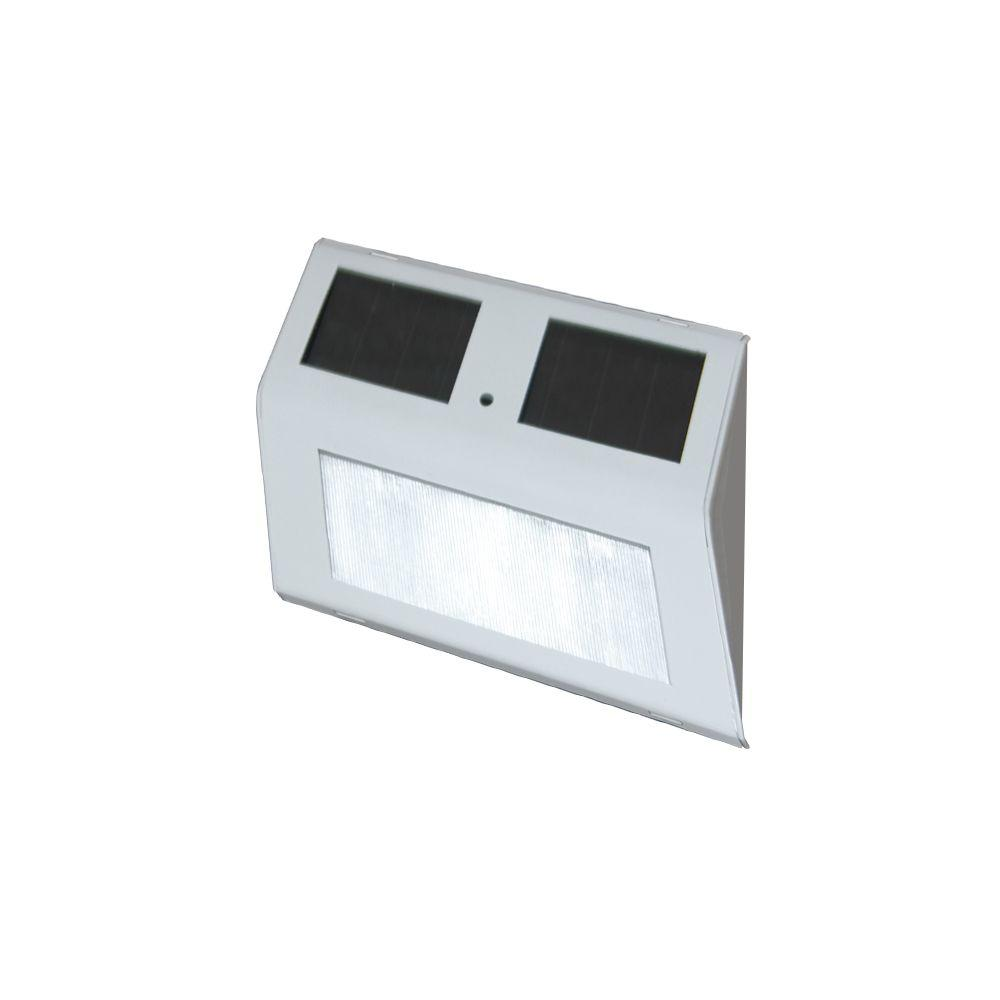 null 5 in. x 3 in. Solar Powered White Stair Light (2-Pack)