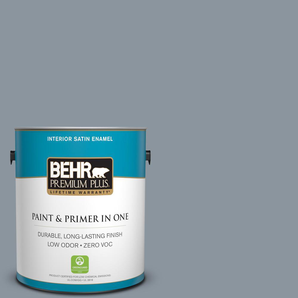 BEHR Premium Plus 1-gal. #PPF-28 Blue Dusk Zero VOC Satin Enamel Interior Paint