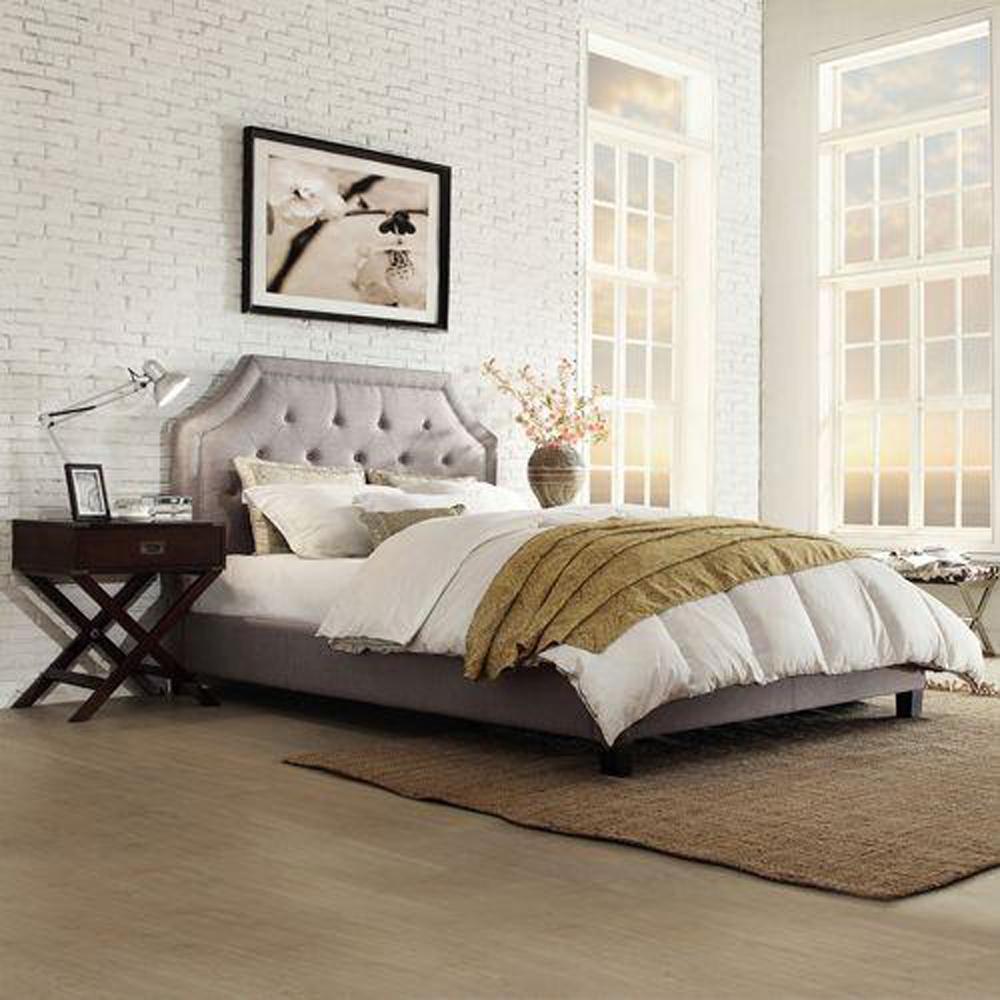 Monarch Grey Queen Upholstered Bed