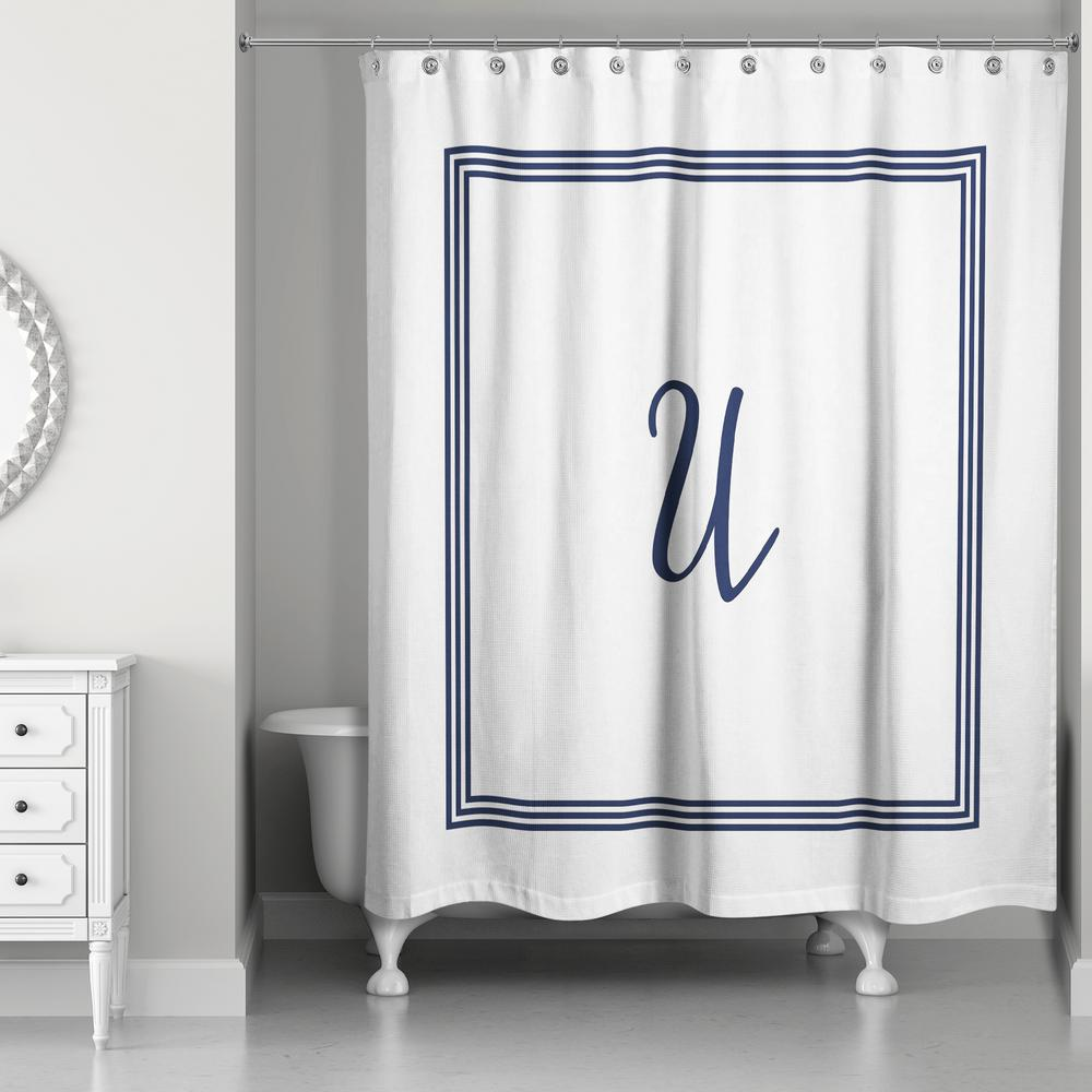 71 in. W x 74 in. L Navy Blue and White