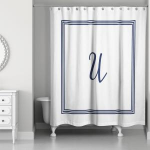 Click here to buy  71 inch W x 74 inch L Navy Blue and White Letter U Monogrammed Fabric Shower Curtain.
