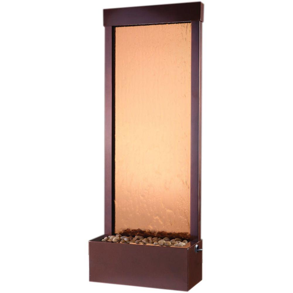 48 in. Floor Fountain Bronze Mirror and Rear Mounted Dark Copper