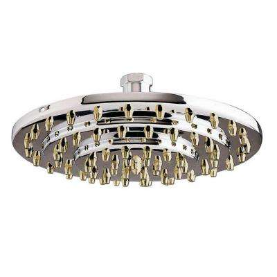 1-Spray 8 in. Rain Showerhead in Chrome and Polished Brass