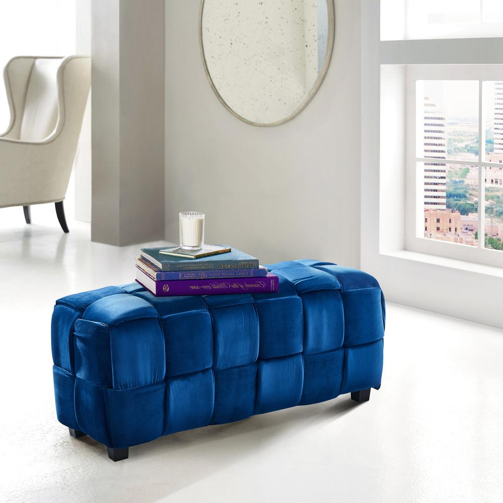 Raven Blue Velvet Contemporary Long Ottoman