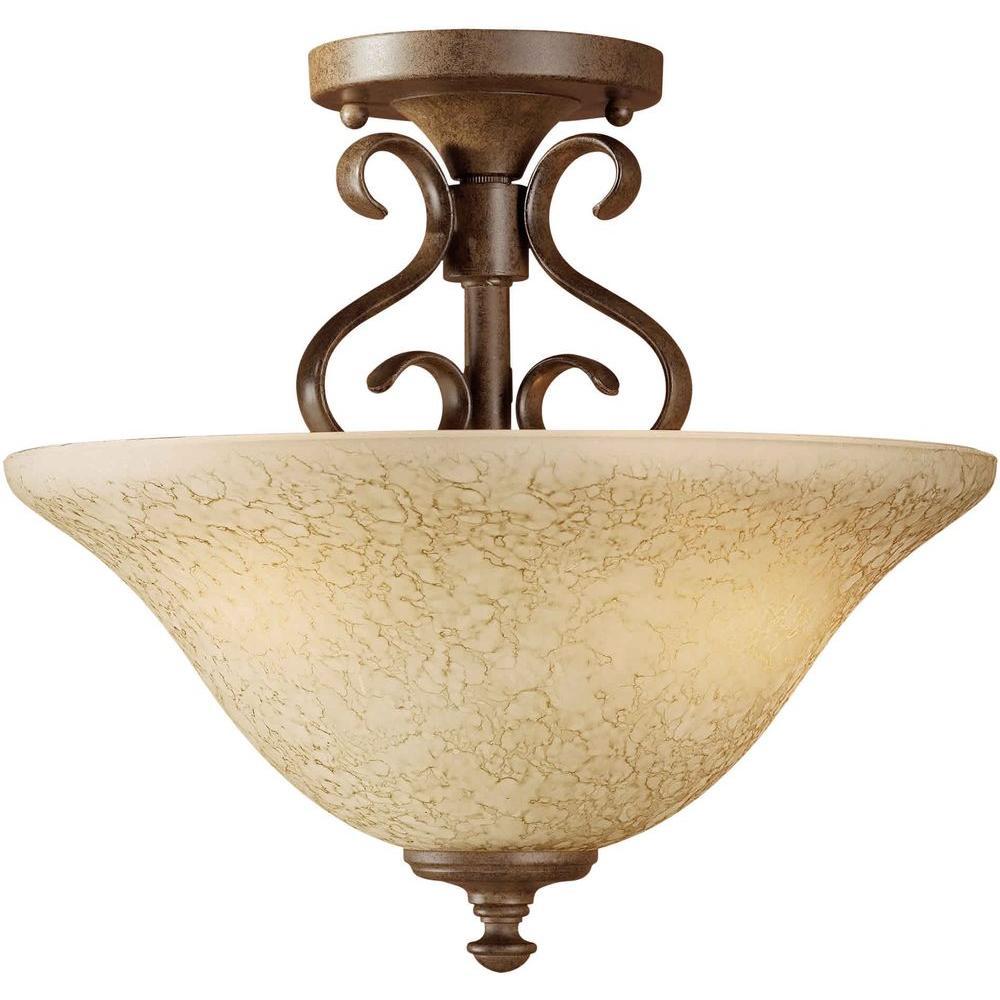 Illumine 2-Light Semi Flush Mount Chestnut Finish Gold Dust Glass-DISCONTINUED