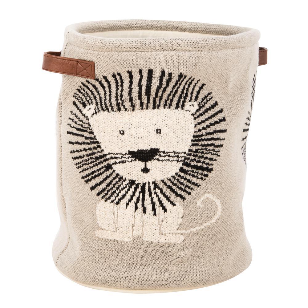 Dandy Lion 26 in. x 34 in. Gray/Natural/Black Storage Basket