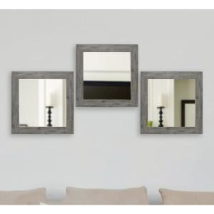 21.5 inch x 21.5 inch Gray Barnwood Vanity Square Vanity Wall Mirrors (Set of 4) by