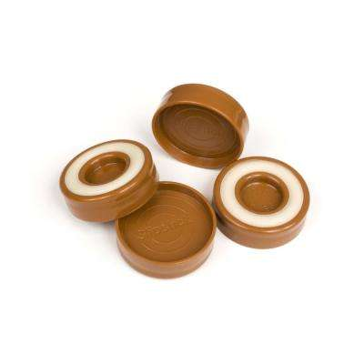 1-3/4 in. Caramel Brown Furniture Caster Cups/Floor Protector Coasters Round for Furniture Legs (Set of 4 Grippers)