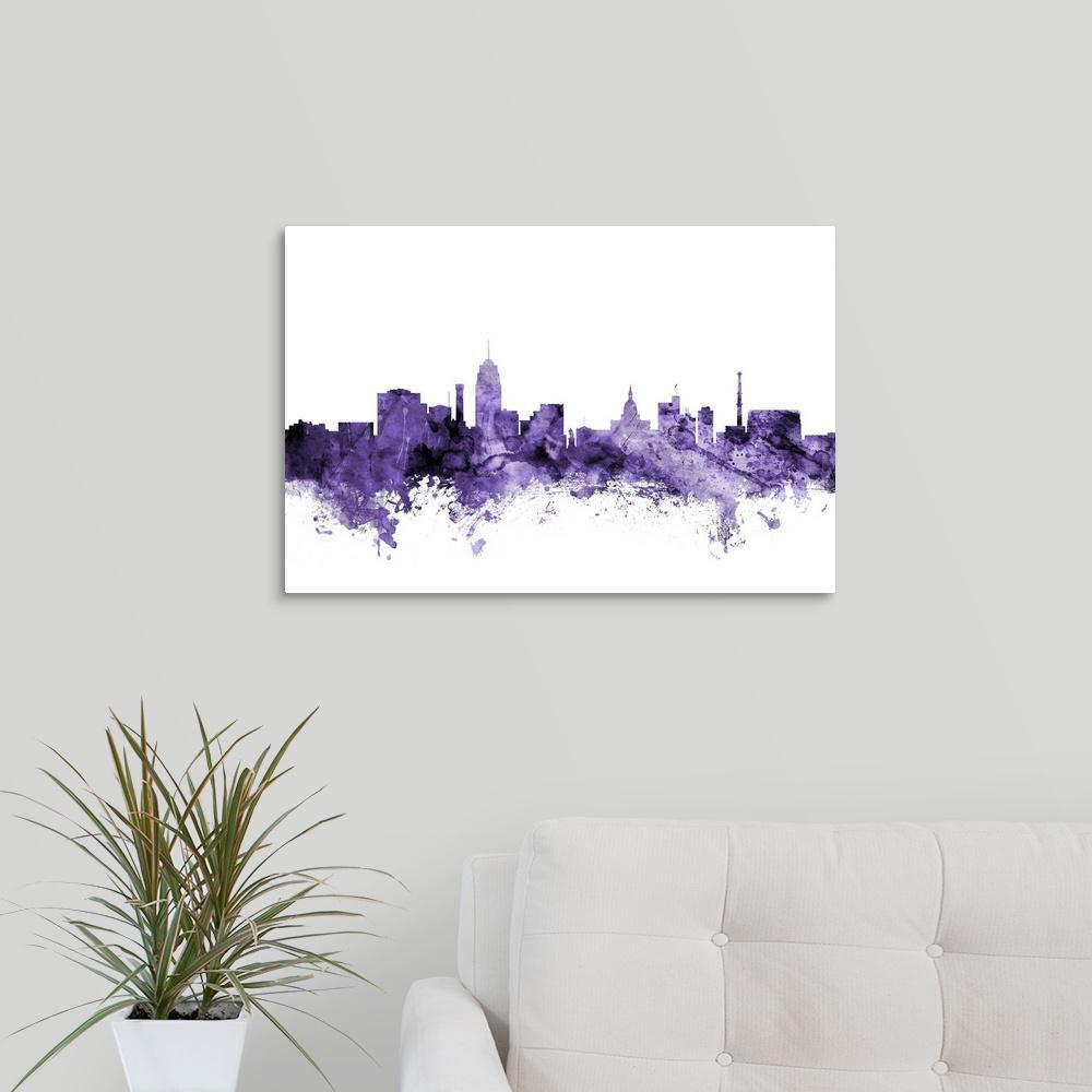 Greatbigcanvas Lansing Michigan Skyline By Michael Tompsett Canvas