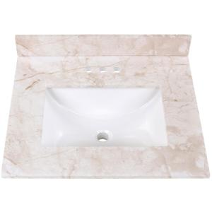 25 in. Stone Effect Vanity Top in Dune with White Sink