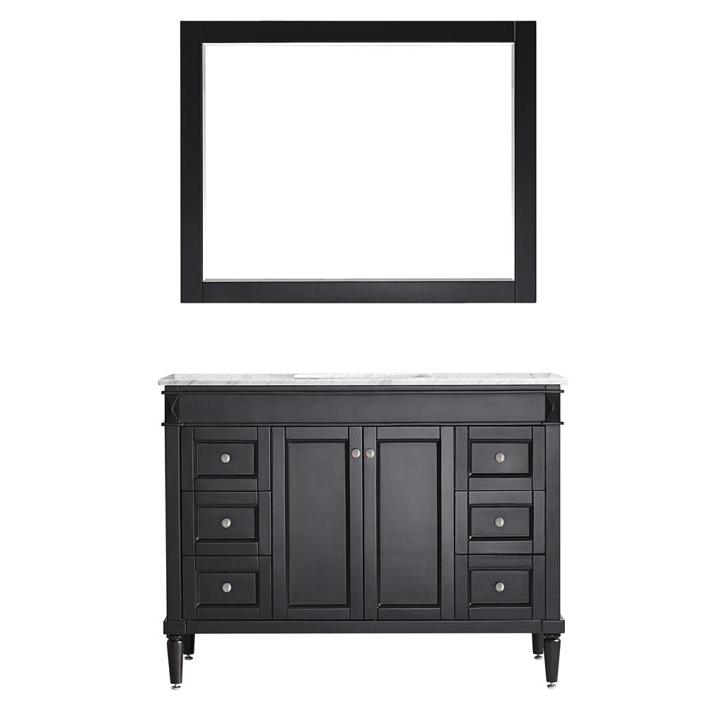 ROSWELL Catania 48 in. W x 22 in. D x 35 in. H Vanity in Espresso with Marble Vanity Top in White with Basin and Mirror