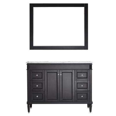 Catania 48 in. W x 22 in. D x 35 in. H Vanity in Espresso with Marble Vanity Top in White with Basin and Mirror